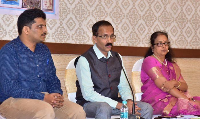 Post Master General, South Kanara Region, SRajendra Kumar, addresses media persons at Hotel Ocean Pearl in Mangaluru.