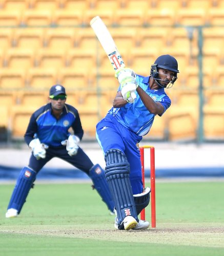 Devdutt Padikkal struck an unbeaten ton as Karnataka trounced Saurashtra by eight wickets in the Vijay Hazare Trophy at the M Chinnaswamy Stadium in Bengaluru on Saturday. DH Photo/ Srikanta Sharma R