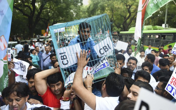 Indian Youth Congress (IYC) members stage a protest over alleged vendetta politics by the government and other issues, outside the official residence of finance minister Nirmala Sitharaman, in New Delhi. (PTI Photo)
