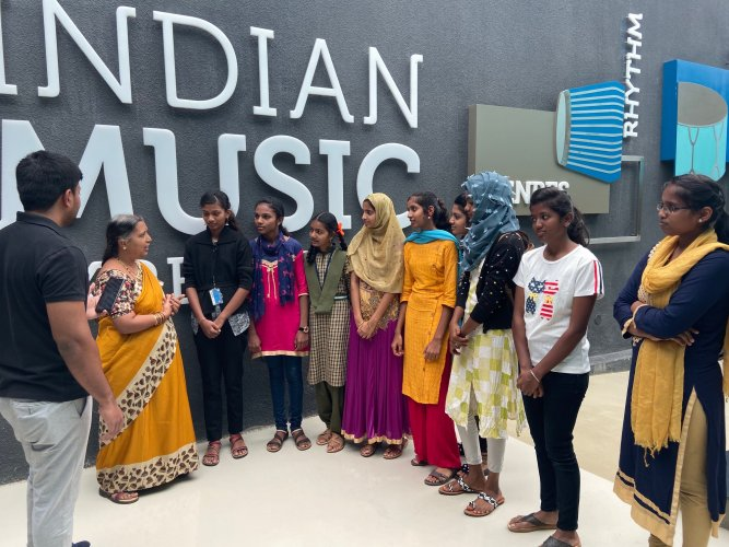 The girls at the Indian Music Experience in JP Nagar.