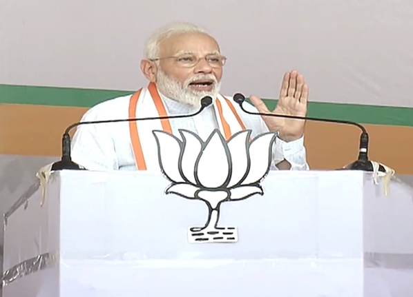 The Opposition seems to be speaking on lines of the neighbouring country on Article 370, Modi said. Photo/Twitter