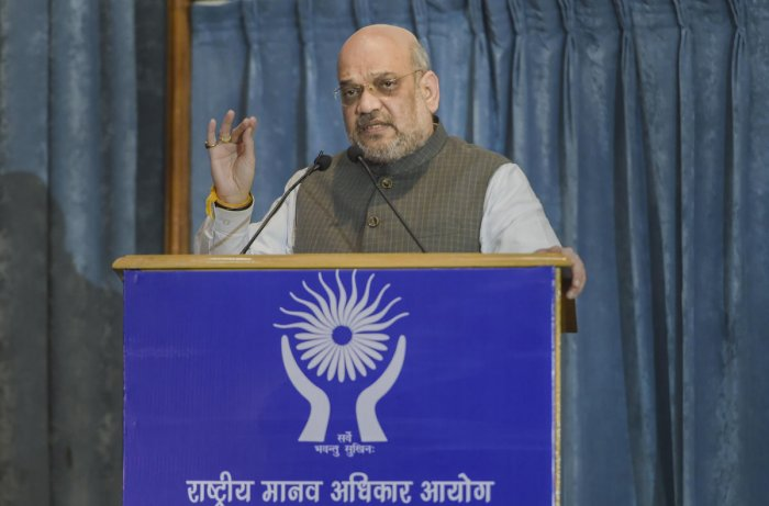 Union Home Minister Amit Shah speaks during NHRC foundation day. (PTI Photo)