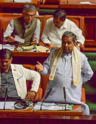 Leader of Opposition Siddaramaiah makes a point during budget discussion in the Legislative Assembly on Saturday. DH Photo
