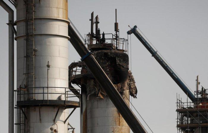 A view shows the damaged site of Saudi Aramco oil facility in Abqaiq, Saudi Arabia. (Reuters Photo)