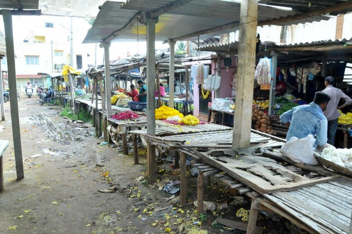 The pathetic condition of the market on M G Road in Chikkamagaluru.