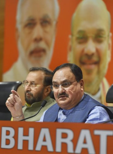 "Nadda also took a swipe at the opposition leaders, saying those ""running between jail and ED"" cannot take the state ahead. Photo/PTI"