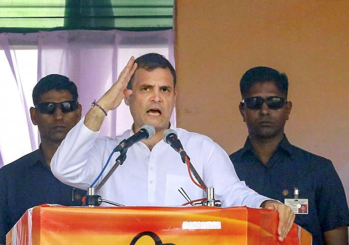 Former Congress president Rahul Gandhi addresses a joint Congress-NCP rally ahead of Maharashtra Asembly elections, at Ausa in Latur. PTI
