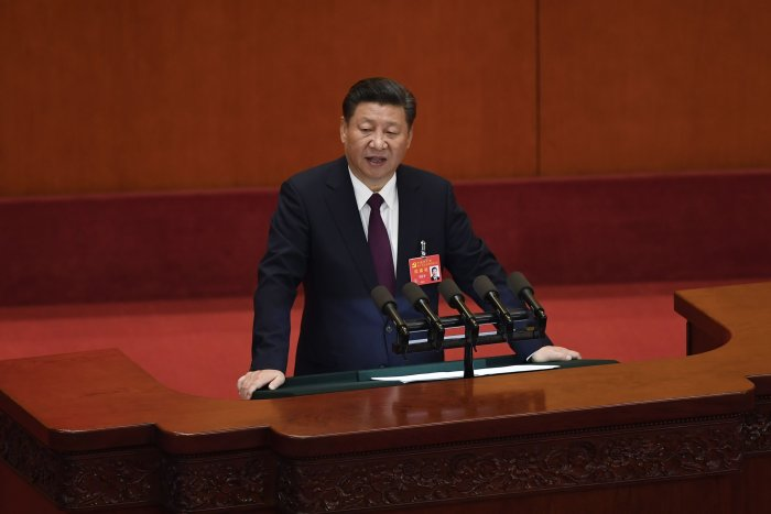 Chinese President Xi Jinping delivering a speech at the opening session of the Chinese Communist Party's Congress. (AFP Photo)