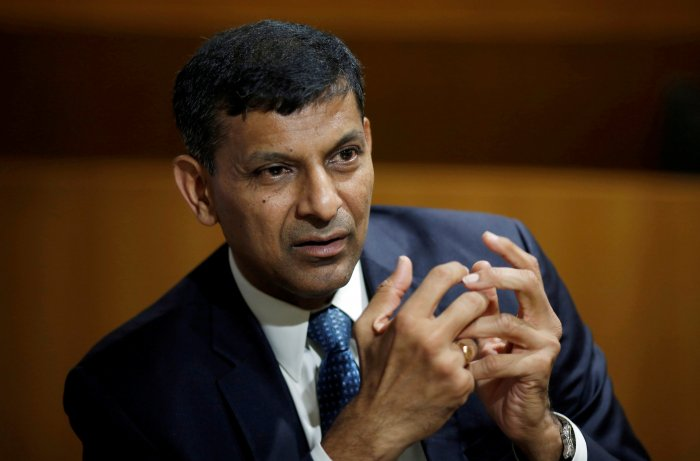 India's former Reserve Bank of India (RBI) Governor Raghuram Rajan, gestures during an interview with Reuters in New Delhi, India. (Reuters Photo)