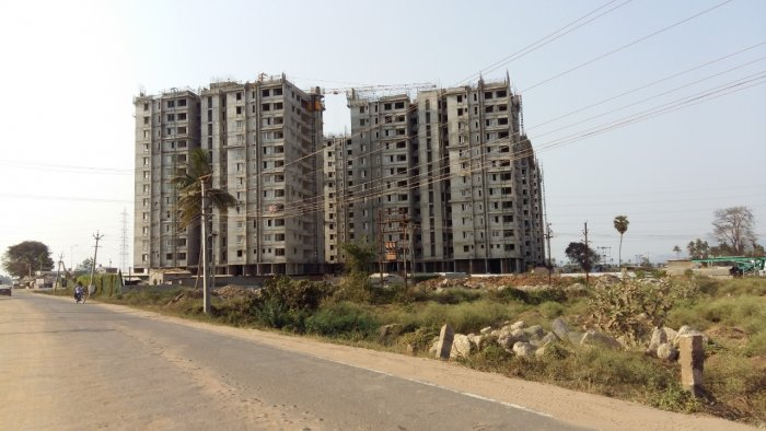 Unfinished Residential complex for MLAs in Amaravati. (DH Photo)