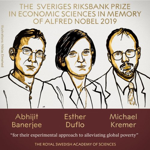 """The Nobel Prize for Economic Sciences has been awarded to Abhijit Banerjee, Esther Duflo and Michael Kremer """"for their experimental approach to alleviating global poverty."""" Photo credit: Twitter/ Nobel Prize"""