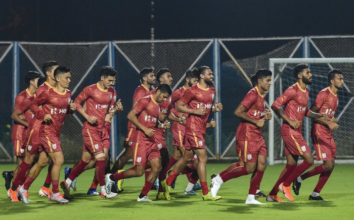 Indian footballer team Captain Sunil Chhetri with teammates during a practice session for FIFA World 2022 Qualifier match against Bangladesh, in Kolkata. (PTI Photo)