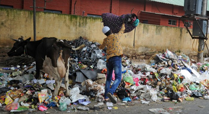 A man dumps garbage near as uncleared garbage pile-up on the busy Kamraj Road in Bengaluru on Saturday. | DH Photo: Pushkar V