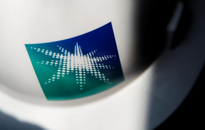 A helmet with logo of Saudi Aramco is pictured at the oil facility in Abqaiq, Saudi Arabia. (Photo by Aramco)
