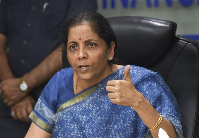Finance Minister Nirmala Sitharaman addresses the media following a meeting with CMDs of Public Sector Banks in New Delhi, Monday, Oct. 14, 2019. (PTI Photo)