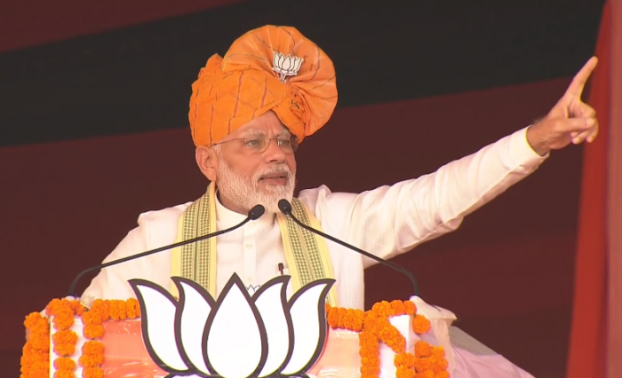 """Modi said the opposition parties in the state were crumbling and their attempts to come together are falling apart, while the BJP had a """"strong team and a strong captain"""" in Chief Minister Manohar Lal Khattar."""