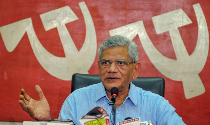 CPI(M) general secretary Sitaram Yechury alleged that there was a move to shut the state-owned BSNL and MTNL to help industrialist Mukesh Ambani's Reliance Jio. Photo/PTI