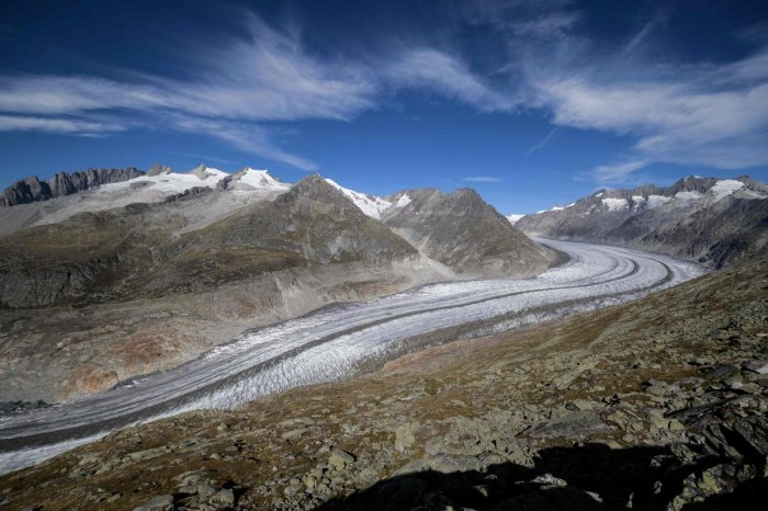 This picture taken on October 01, 2019 shows Aletsch glacier above Bettmeralp, Swiss Alps. AFP Photo