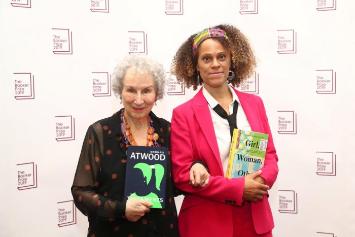 Margaret Atwood poses with Bernardine Evaristo after jointly winning the Booker Prize for Fiction 2019 at the Guildhall in London, Britain October 14, 2019. (REUTERS)