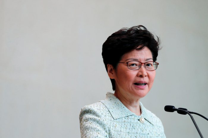 Hong Kong Chief Executive Carrie Lam speaks to journalists before a weekly Executive Council meeting in Hong Kong, China, October 15, 2019. (REUTERS)