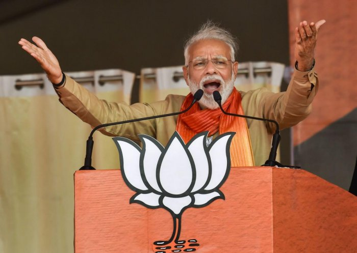 Prime Minister Narendra Modi addresses an election campaign rally ahead of Haryana Assembly elections, in Charkhi Dadri. PTI