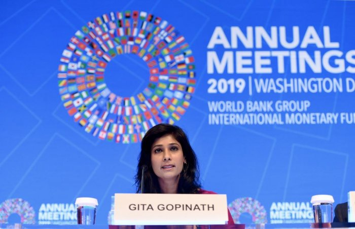 IMF Chief Economist and Director of the Research Department, speaks at a briefing during the IMF and World Bank Fall Meetings on October 15, 2019 in Washington, DC