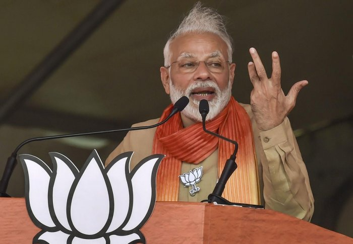 PM Modi also said that the opposition party was taking its last breath. Photo/PTI
