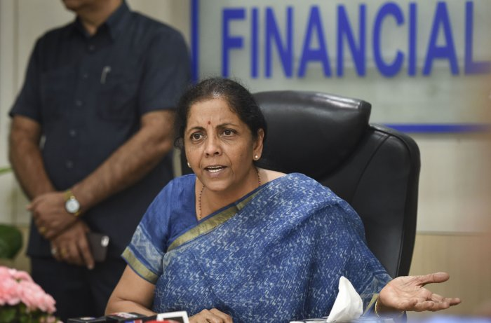 Finance Minister Nirmala Sitharaman addresses the media following a meeting with CMDs of Public Sector Banks in New Delhi. (PTI Photo)