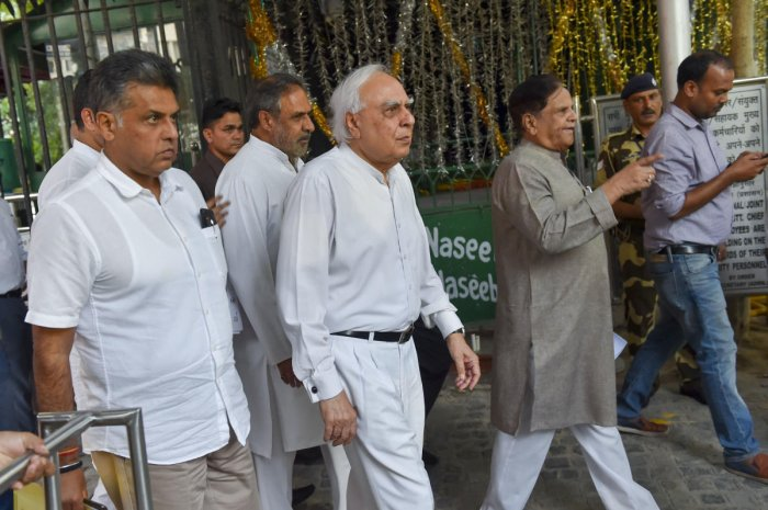 A delegation of senior Congress party leaders Manish Tewari, Kapil Sibal, Anand Sharma, Ahmed Patel leave after a meeting with the Election Commission of India