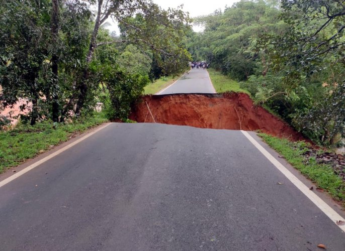 A road was washed away by flood waters of a stream at Doopadakatte in Bhairampalli Gram Panchayat in Kaup, Udupi district.