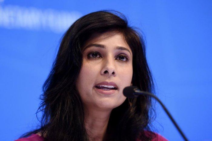 Gita Gopinath, IMF Chief Economist and Director of the Research Department, speaks at a briefing during the IMF and World Bank Fall Meetings on October 15, 2019 in Washington, DC. (AFP)