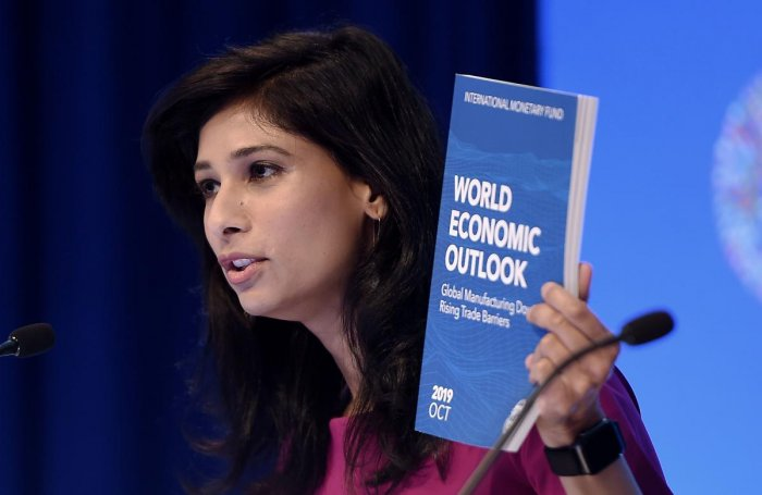 Gita Gopinath, IMF Chief Economist and Director of the Research Department, speaks at a briefing during the IMF and World Bank Fall Meetings on October 15, 2019 in Washington, DC. (Photo by AFP)
