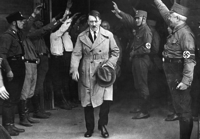 Adolf Hitler, leader of the National Socialists, emerges from the party's Munich headquarters on December 5, 1931. Hitler predicted his Nazi party would one day control Germany.