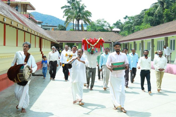 Jewels were carried in a procession from Bhagamandala Temple to Talacauvery, on Wednesday.