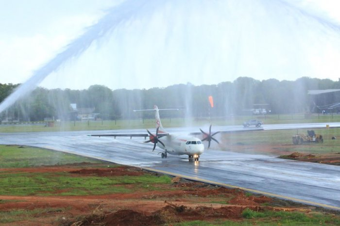 Alliance Air flight from Chennai being accorded water salute at the Jaffna International Airport in Sri Lanka that opened for commercial operations on Thursday. (Photo/MEA)