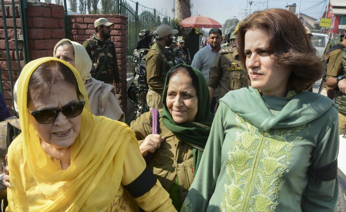 Sister Suriya Abdullah and daughter Safiyah Abdullah of Member of Parliament Farooq Abdullah, during a protest against the abrogration of Article 370A and bifurcation of J &K State, on the 73rd day of strike, in Srinagar. (PTI Photo)