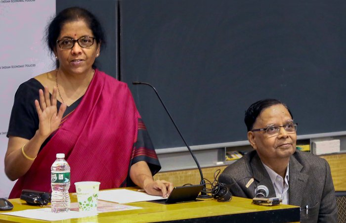Union Minister for Finance and Corporate Affairs Nirmala Sitharaman (L) speaks on 'Indian Economy: Challenges and Prospects' at Columbia University in New York. (PTI Photo)