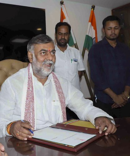 Union Minister of State (Independent Charge) for Tourism and Culture, Prahlad Singh Patel. (PTI Photo)