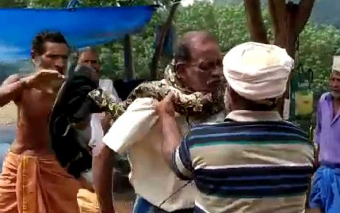 The python, about ten-feet long, coiled around the neck of the worker, identified as Bhuvanachandran