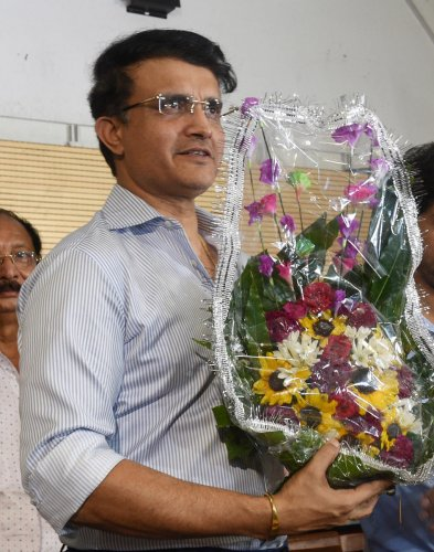 BCCI President-designate Sourav Ganguly being welcomed, at the office of Cricket Association of Bengal in Kolkata on Tuesday. (PTI Photo)