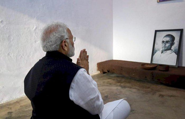 Prime Minister Narendra Modi pays homage to V D Savarkar. (PTI File Photo)