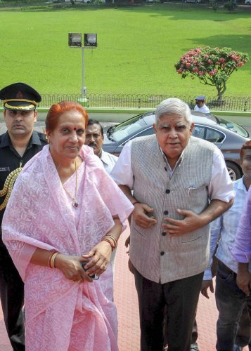 West Bengal Governor Jagdeep Dhankhar (R) with his wife Sudesh Dhankhar during their visit to National Library, in Kolkata on Tuesday. (PTI Photo)