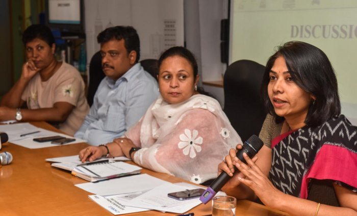 BMTC managing director C Shikha at an interaction on the city's mobility issues on Wednesday. DH photo/M S MANJUNATH