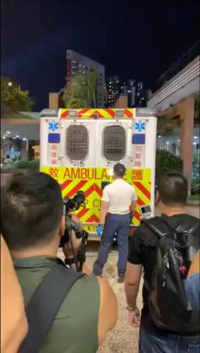 Media look on as Hong Kong's Civil Human Rights Front leader Jimmy Sham arrives at a hospital following an attack in Hong Kong, China in this still image obtained from social media video dated October 16, 2019. (Photo by Reuters)