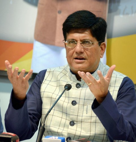 Railways and Commerce Minister Piyush Goyal interacts with media at BJP headquarter, in Mumbai on Thursday. (PTI Photo)