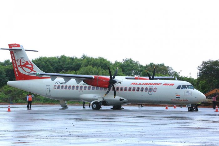 Alliance Air flight from Chennai being accorded water salute at the Jaffna International Airport in Sri Lanka that opened for commercial operations on Thursday. Photo: MEA