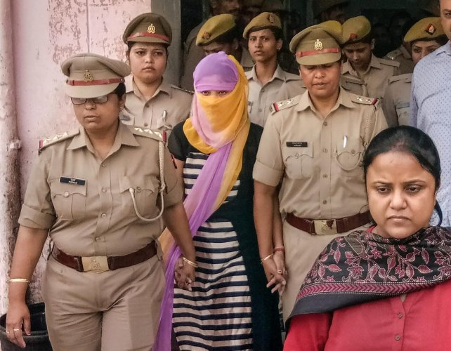 The woman law student (face covered). PTI file photo