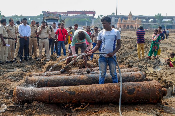 Four British era cannon barrels, which were found during an excavation work, at the Kasturchand Park ground in Nagpur, Maharashtra (PTI Photo)