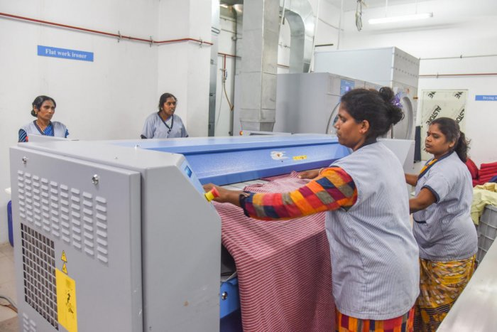 The automated laundry system setup at Victoria Hospital Campus. DH Photo/S K Dinesh