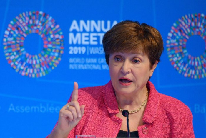 IMF Managing Director Kristalina Georgieva speaks at a news conference during the IMF/World Bank 2019 Annual Fall Meetings, in Washington, DC, on October 17, 2019. (Photo by AFP)